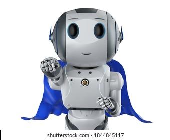 3d rendering superhero robot with blue cloak