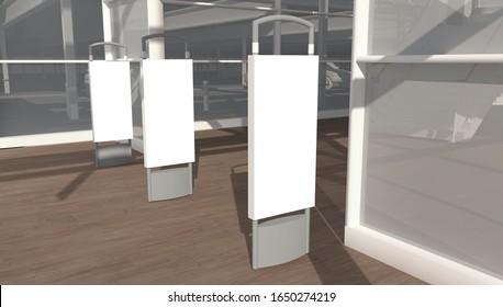 3d rendering supermarket security shroud mock up