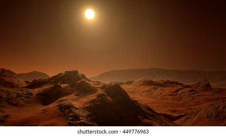 3D rendering of the surface of Mars.