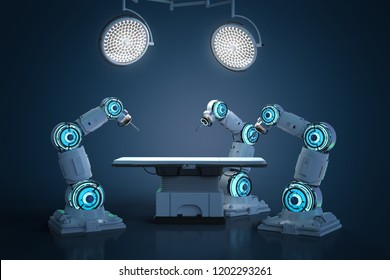 3d rendering surgery robotic arm in operating room