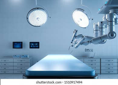 3d rendering surgery room with robotic surgery and empty bed