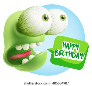 3d Rendering Surprise Character Face Emoticon saying Happy Birthday with Colorful Speech Bubble.