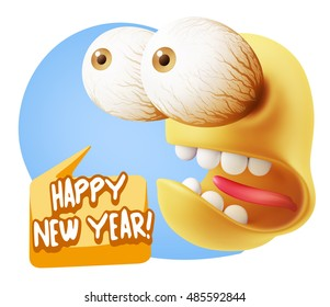 3d rendering surprise character face emoticon saying happy new year with colorful speech bubble