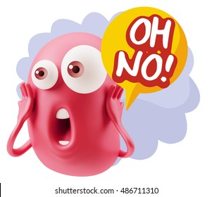 3d Rendering Surprise Character Face Emoticon saying Oh No! with Colorful Speech Bubble.
