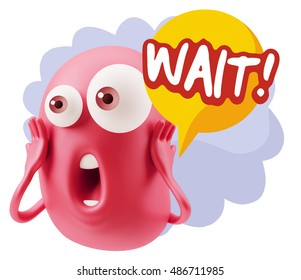3d Rendering Surprise Character Face Emoticon saying Wait! with Colorful Speech Bubble.