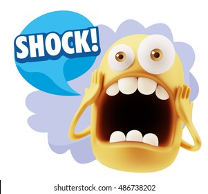 3d Rendering Surprise Character Face Emoticon saying Shock! with Colorful Speech Bubble.