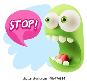 3d Rendering Surprise Character Face Emoticon saying Stop with Colorful Speech Bubble.
