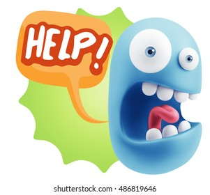 3d Rendering Surprise Character Face Emoticon saying Help with Colorful Speech Bubble.