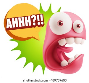 3d Rendering Surprise Character Face Emoticon saying Ahhh?!! with Colorful Speech Bubble.