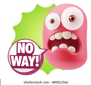 3d Rendering Surprise Character Face Emoticon saying No Way with Colorful Speech Bubble.