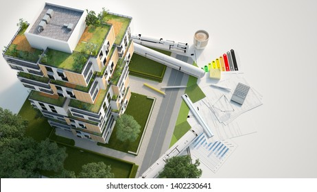 3D rendering of a Sustainable building architecture model with blueprints, energy efficiency chart and other documents