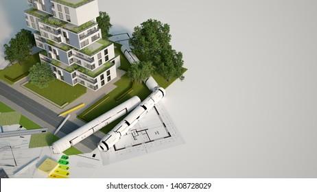 3D-Darstellung eines Modells nachhaltiger Gebäudearchitektur mit Entwürfen, Energiekarten und anderen Dokumenten