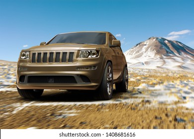 3D rendering of a SUV in the altiplano