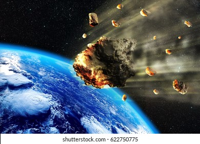 3D rendering of a swarm of Meteorites or asteroids entering the Earth atmosphere.