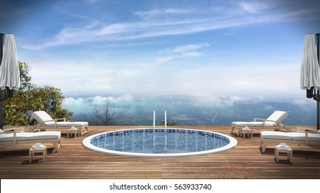 3d rendering, Swimming Pool, living,interior, villa, resort, Mountain