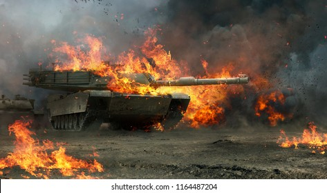 A 3d rendering of a tank charging into battle.