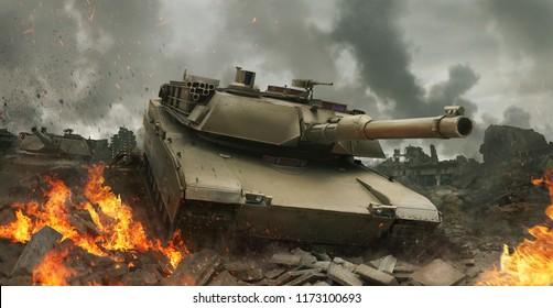 3D Rendering of a tank in the mist of battle.