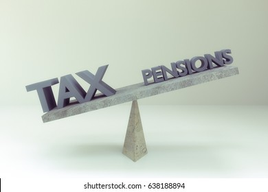 3d rendering of  tax words and pensions on balance board