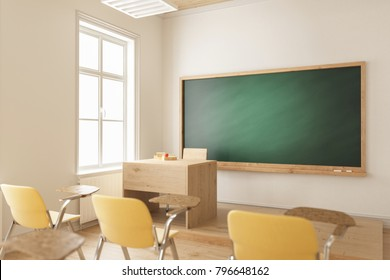 3d rendering of Teacher's Table and the Blackboard with Selective Focus