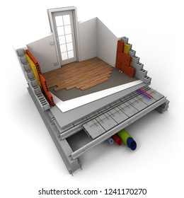 3D rendering of a technical construction concept