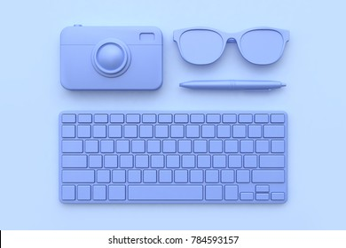 3d rendering technology concept keyboard camera pen glasses purple-violet all object abstract scene