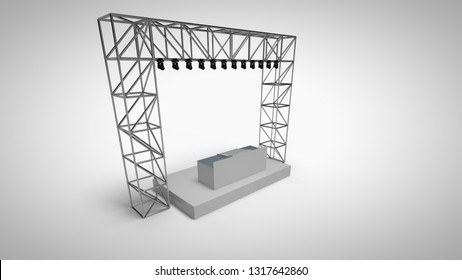 3d rendering template dj stage with light