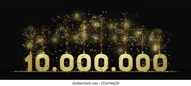 3D rendering ten millions subscribers celebration