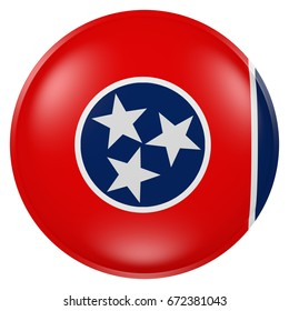 3d rendering of Tennessee State flag on a button