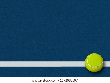 3d rendering of tennis ball in tennis court. Sport Background