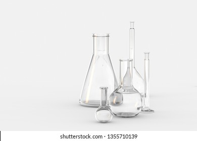 3d rendering, test tube and beaker in the lab, computer digital image