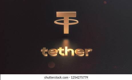 3D Rendering of tether cryptocurrency gold logo