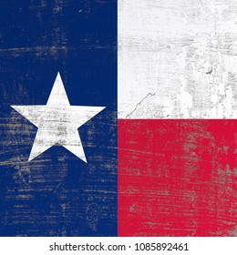 3d rendering of Texas flag in a scratched surface