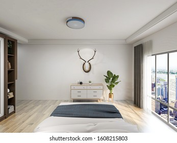 3D rendering ,The elegant and spacious bedroom design of the modern apartment has a coat cabinet beside the big bed, as well as a bucket cabinet and green plants.
