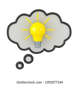 3D Rendering of thought bubble with an idea lightbulb. 3D Rendering isolated on white.