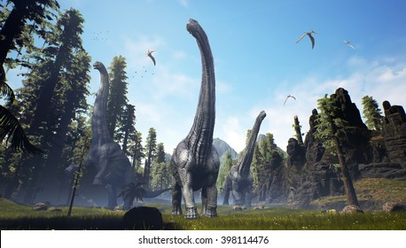 3D Rendering of three Alamosaurus moving as a herd along side a tree line.