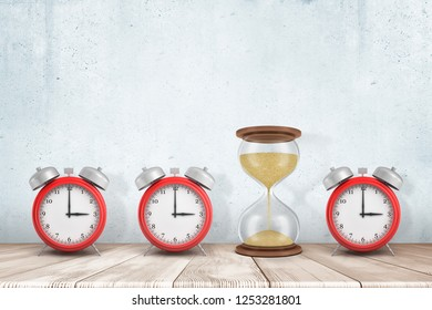 3d rendering of three alarm clocks and one sandglass on white wooden floor with white wall background. Time measuring. Digital art. Time planning.