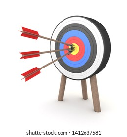 3D Rendering of three arrows hitting the middle of a target. 3D Rendering isolated on white.