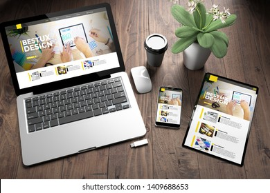 3d rendering of three devices with responsive ux design website on screen on wooden desktop top view