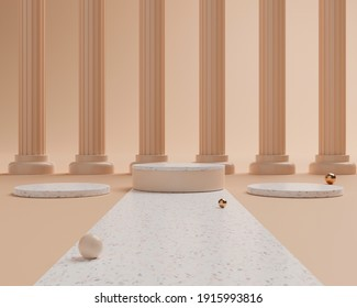 3d rendering three empty cylinder podiums with row of columns. Abstract scene for product mock up template.