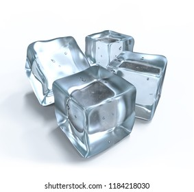 3D rendering, three ice cubes on white background.