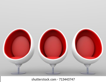 3d rendering. Three luxurious modern outer white and inner red egg chairs on gray background
