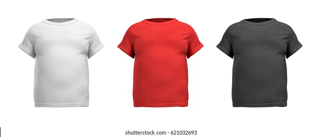 3d rendering of three male T-shirts in realistic fat torso front view in white, red and black colors. Clothes and wardrobe. Casual and sport wear. T-shirts and polos.