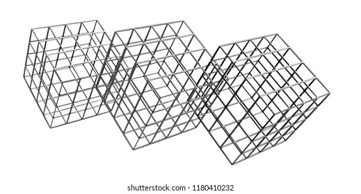 3D rendering of three metal cages isolated on white