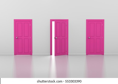 3d rendering of three pink doors, one open and two closed Valentine day concept
