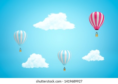 3d rendering of three striped hot-air balloons and three white clouds in light blue sky. Creative concepts. Innovative ideas. Visual marketing.
