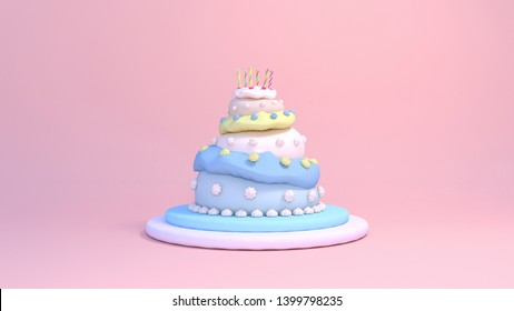 3d rendering three tier birthday cake on pink background.