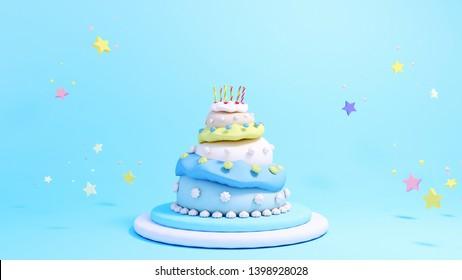 3d rendering three tiered birthday cake.