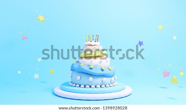Remarkable 3D Rendering Three Tiered Birthday Cake Stockillustratie 1398928028 Funny Birthday Cards Online Inifofree Goldxyz