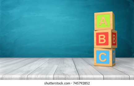 3d rendering of a three toy blocks standing on a wooden desk in one tower with letters A, B and C on them. Primary school. Basic skills. Reading and writing.