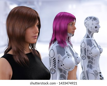 3D rendering of three women in different stages of the evolution of robots. Robot technology concept.